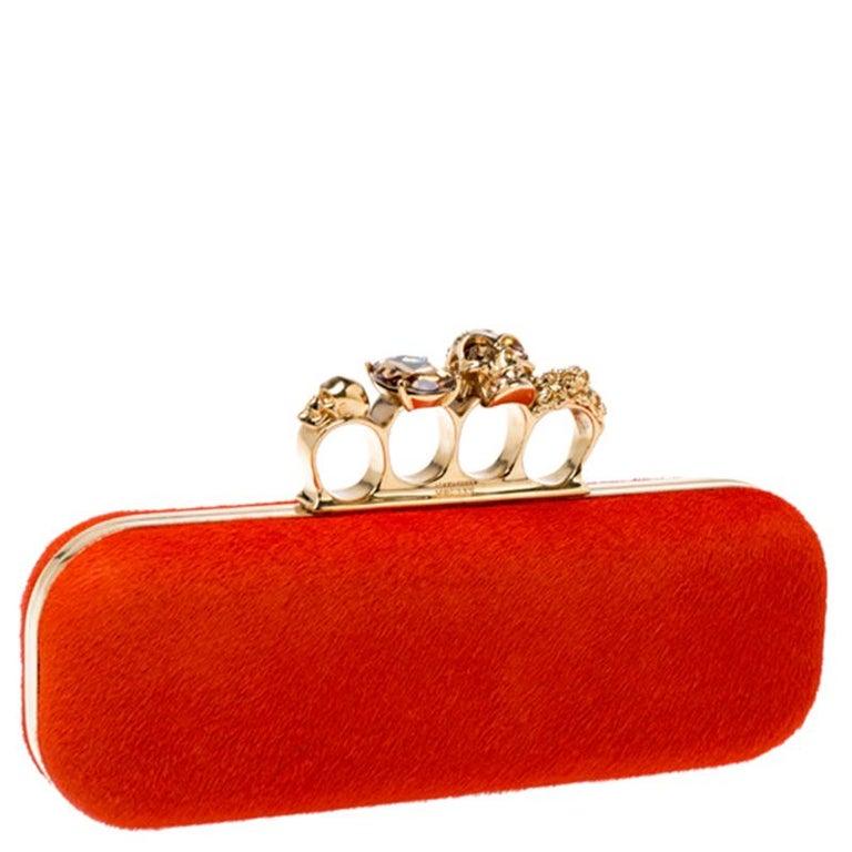 Women's Alexander McQueen Orange Calfhair Skull Knuckle Box Clutch For Sale