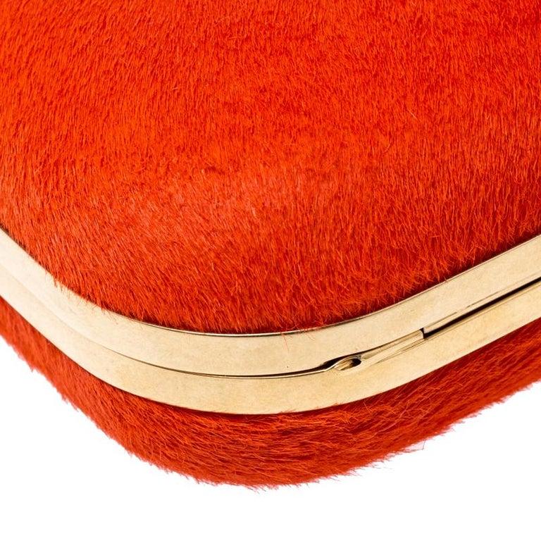 Alexander McQueen Orange Calfhair Skull Knuckle Box Clutch For Sale 1