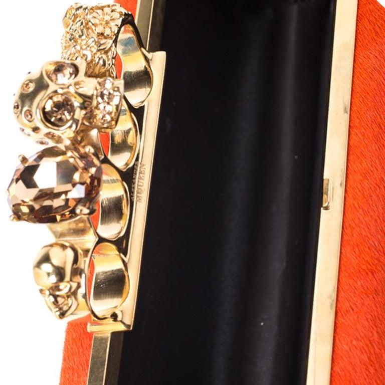 Alexander McQueen Orange Calfhair Skull Knuckle Box Clutch For Sale 4
