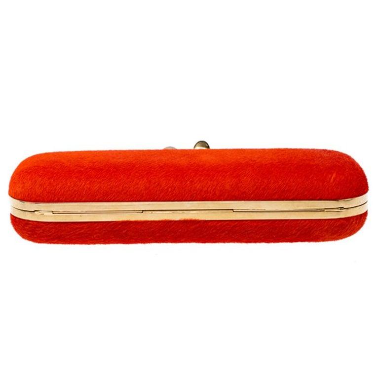 Alexander McQueen Orange Calfhair Skull Knuckle Box Clutch For Sale 5