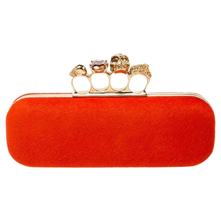 Alexander McQueen Orange Calfhair Skull Knuckle Box Clutch For Sale