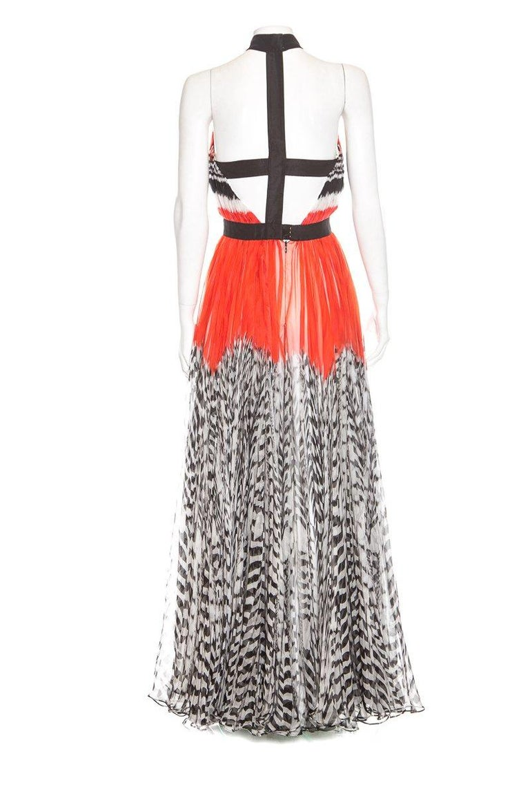 ALEXANDER MCQUEEN  Orange Harness-Back Gown  In Good Condition For Sale In Scottsdale, AZ
