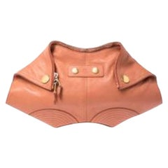 Alexander McQueen Orange Leather Medium De Manta Clutch