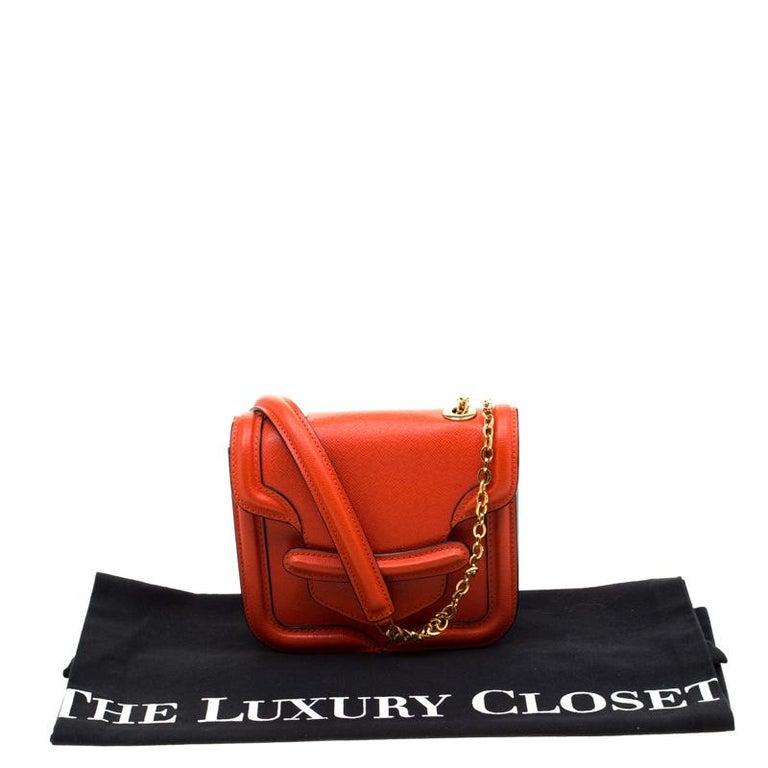 Alexander McQueen Orange Leather Mini Heroine Chain Crossbody Bag For Sale 8