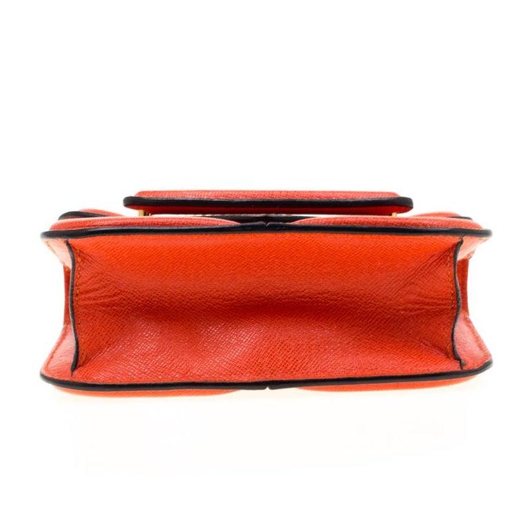 Women's Alexander McQueen Orange Leather Mini Heroine Chain Crossbody Bag For Sale
