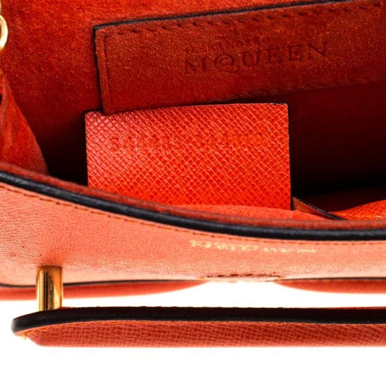 Alexander McQueen Orange Leather Mini Heroine Chain Crossbody Bag For Sale 3