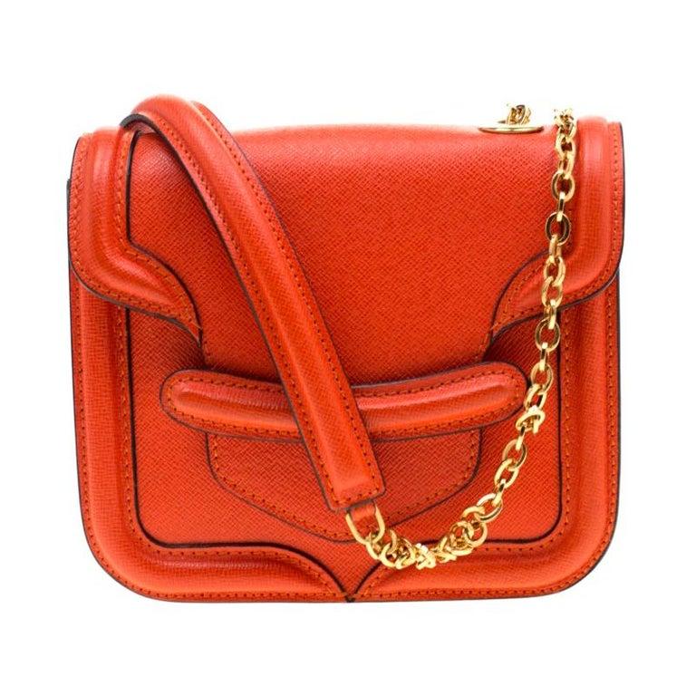 Alexander McQueen Orange Leather Mini Heroine Chain Crossbody Bag For Sale