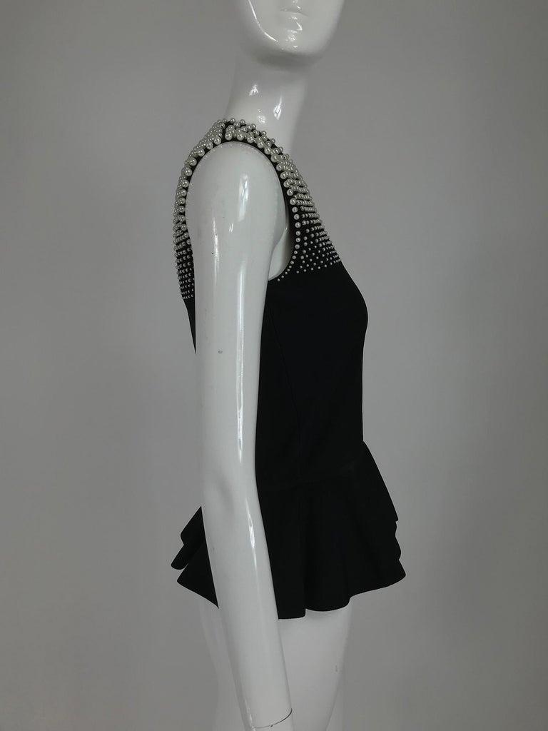 Women's Alexander McQueen Pearl Bodice Sleeveless Peplum Top in Black For Sale