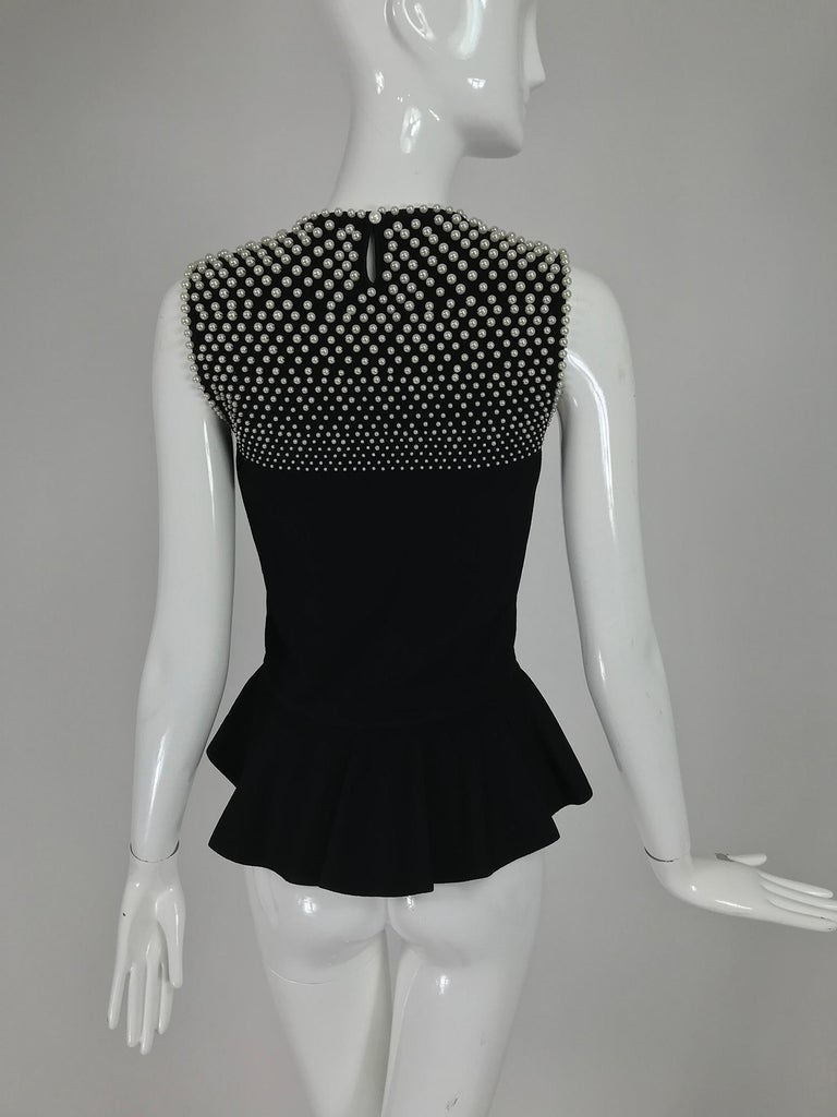 Alexander McQueen Pearl Bodice Sleeveless Peplum Top in Black For Sale 2
