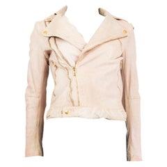 ALEXANDER MCQUEEN pink DISTRESSED LEATHER BIKER Jacket 40 S