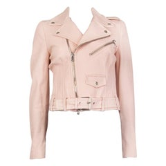 ALEXANDER MCQUEEN pink LEATHER CROPPED BIKER Jacket 40