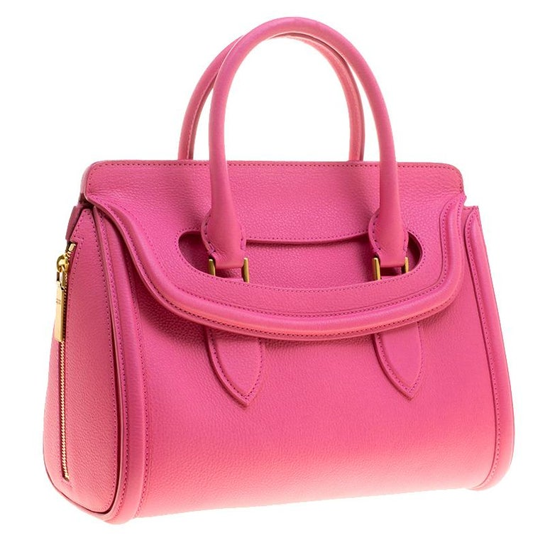 Alexander McQueen Pink Leather Small Heroine Satchel In Excellent Condition For Sale In Dubai, AE
