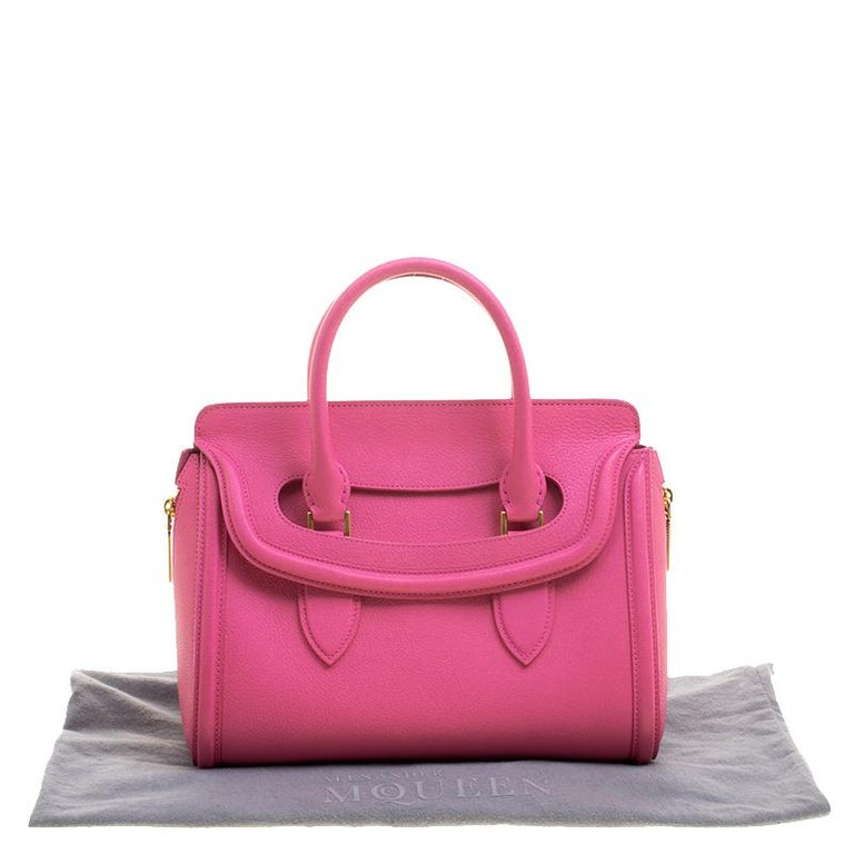 Alexander McQueen Pink Leather Small Heroine Satchel For Sale 5