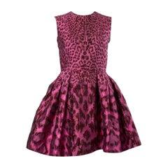 ALEXANDER MCQUEEN pink LEOPARD FLARED BROCADE POUF Cocktail Dress 38