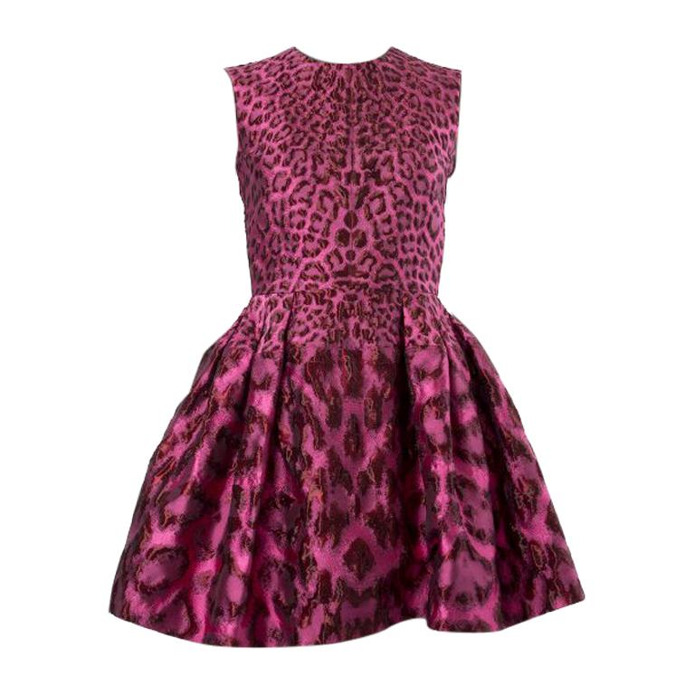 ALEXANDER MCQUEEN pink LEOPARD FLARED BROCADE POUF Cocktail Dress 38 For Sale