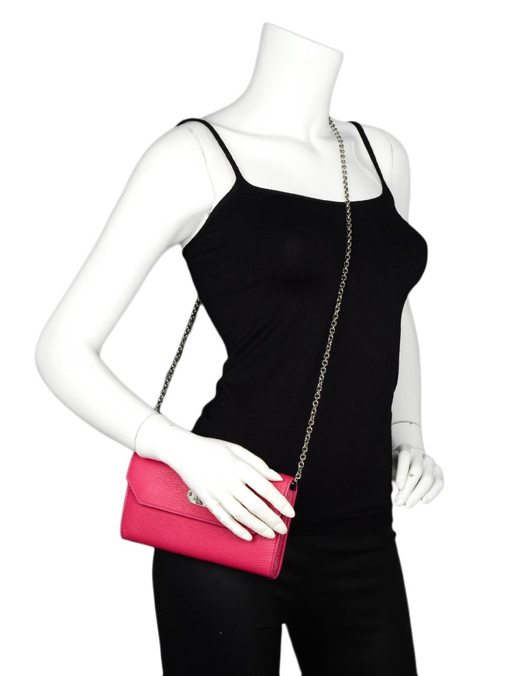 c2a2bd4672bf Alexander McQueen Pink Pebbled Leather Wallet On A Chain Bag Made In: Italy  Color:
