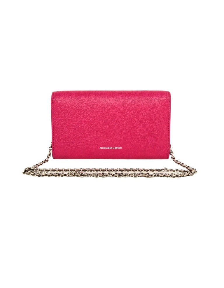 08dc29abeaea Alexander McQueen Pink Pebbled Leather WOC Wallet On A Chain Crossbody Bag  In Excellent Condition For