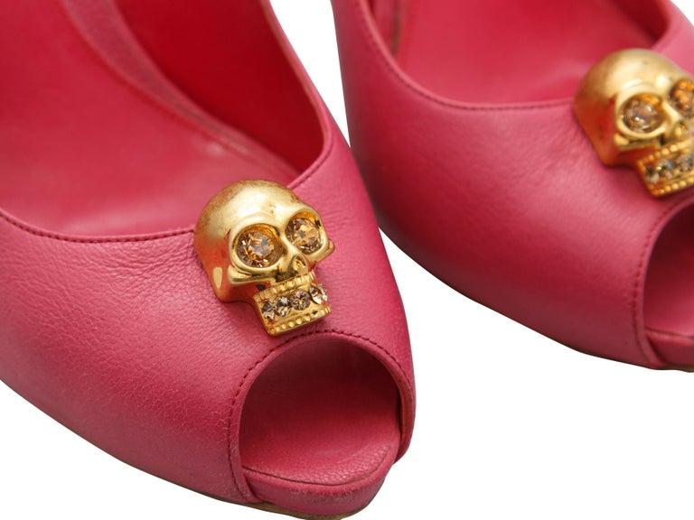 Women's Alexander McQueen Pink Peep-Toe Skull Pumps For Sale