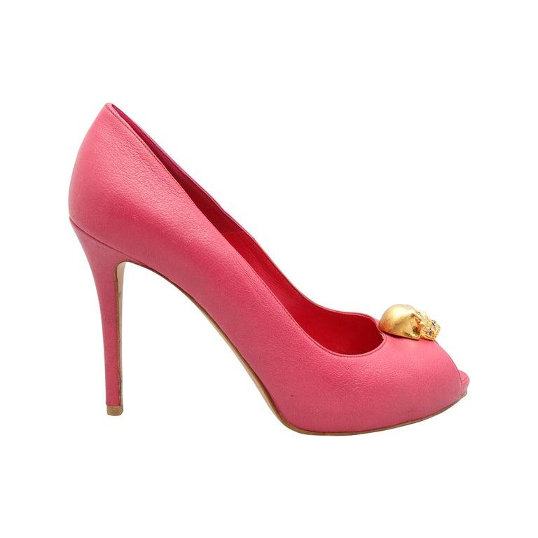 Alexander McQueen Pink Peep-Toe Skull Pumps For Sale