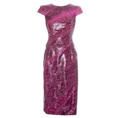 Alexander McQueen pink python bias cut evening dress, ss 2008