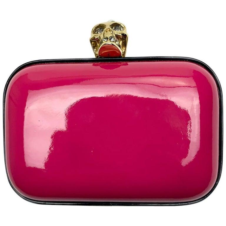 ALEXANDER McQUEEN Pink Skull Clutch Bag For Sale
