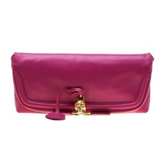 Alexander McQueen Pink Skull Padlock Leather Studded Fold Over Clutch