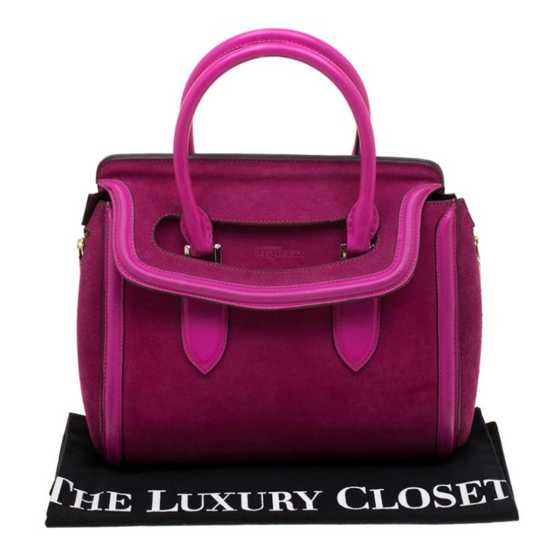 Alexander McQueen Pink Suede and Leather Heroine Tote For Sale 7