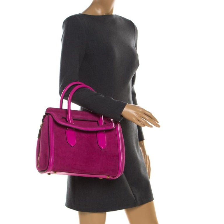 Alexander McQueen Pink Suede and Leather Heroine Tote In Fair Condition For Sale In Dubai, Al Qouz 2