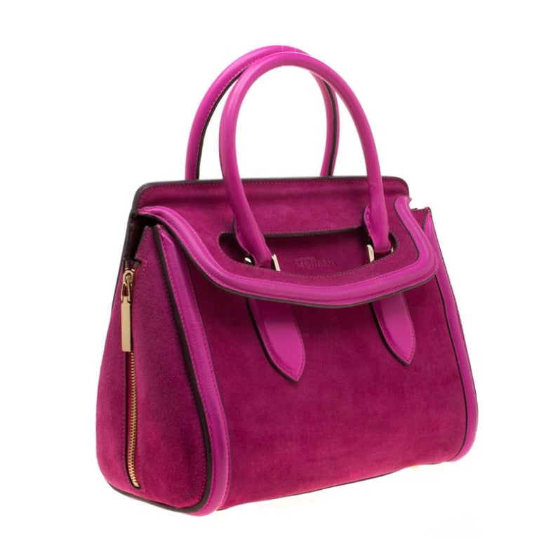 Women's Alexander McQueen Pink Suede and Leather Heroine Tote For Sale