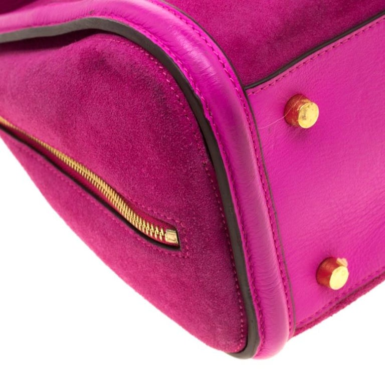 Alexander McQueen Pink Suede and Leather Heroine Tote For Sale 1