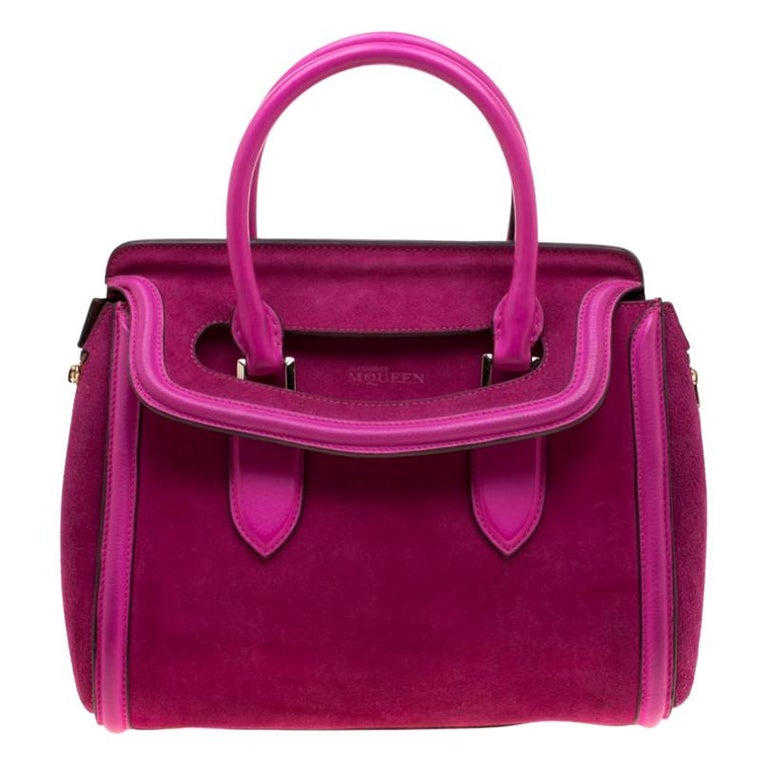 Alexander McQueen Pink Suede and Leather Heroine Tote For Sale