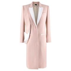 Alexander McQueen Pink Wool & Silk Drop Lapel Coat - Size US 6
