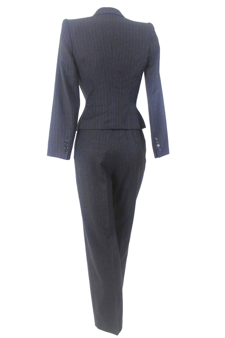 Black Alexander McQueen Pinstripe Blue Satin Lined Suit Fall 1997 Collection For Sale