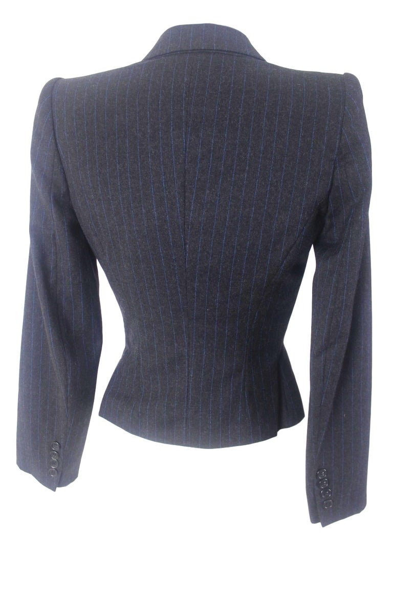 Alexander McQueen Pinstripe Blue Satin Lined Suit Fall 1997 Collection In Excellent Condition For Sale In Bath, GB