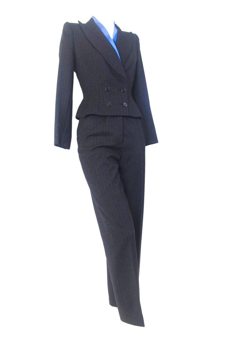 Women's or Men's Alexander McQueen Pinstripe Blue Satin Lined Suit Fall 1997 Collection For Sale