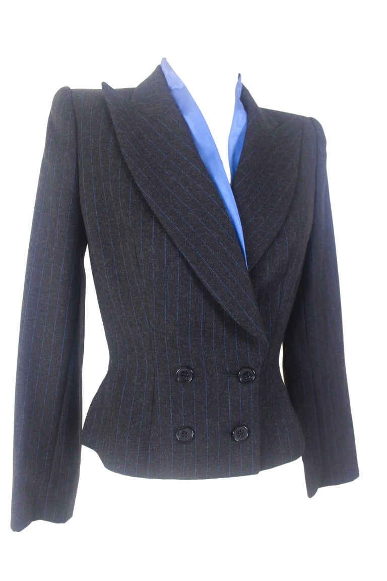 Alexander McQueen Pinstripe Blue Satin Lined Suit Fall 1997 Collection For Sale 1