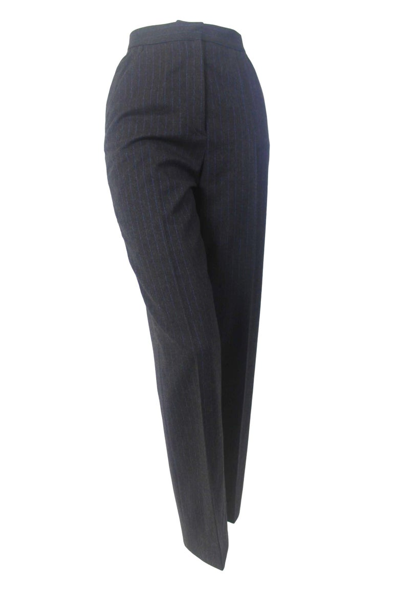 Alexander McQueen Pinstripe Blue Satin Lined Suit Fall 1997 Collection For Sale 2