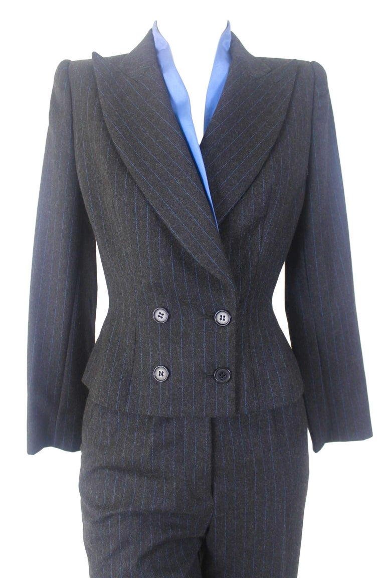 Alexander McQueen Pinstripe Blue Satin Lined Suit Fall 1997 Collection For Sale 3