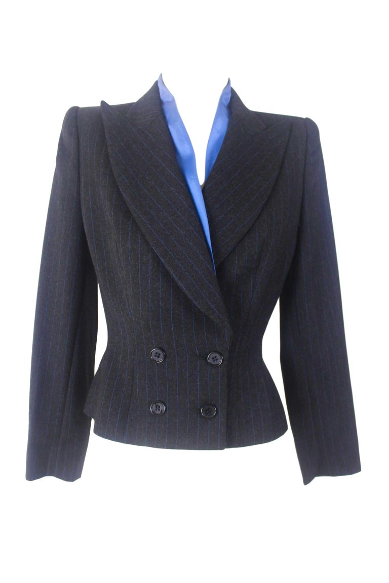 Alexander McQueen Pinstripe Blue Satin Lined Suit Fall 1997 Collection For Sale 4
