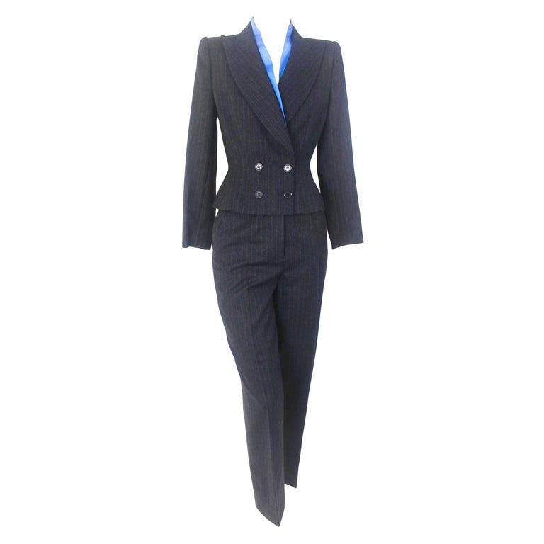 Alexander McQueen Pinstripe Blue Satin Lined Suit Fall 1997 Collection For Sale