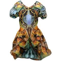 Alexander McQueen 'Plato's Atlantis' 2010  Snakeskin Print  Organza Dress SZ 38