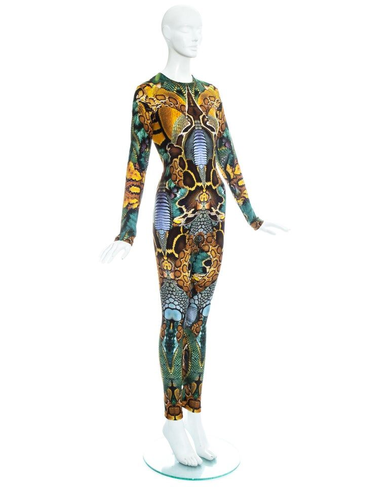 Women's Alexander Mcqueen Plato's Atlantis printed lycra bodystocking, ss 2010  For Sale
