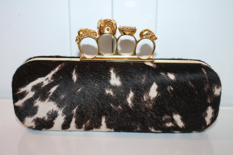 Alexander McQueen Ponyhair Knuckle Duster Clutch In Excellent Condition For Sale In Roslyn, NY