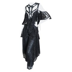Alexander McQueen Pre Fall 2018 Goth Black Lace Beaded Dress by Sarah Burton