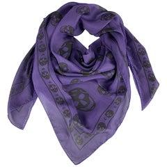 ALEXANDER MCQUEEN Purple & Black Skulls Print Silk Chiffon Scarf