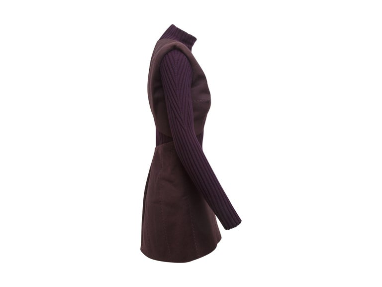 Product details:  Purple ribbed knit and suede dress by Alexander McQueen.  From the fall 2007 collection.  Layered illusion.  Stand collar.  Long sleeves.  Back zip closure.  28