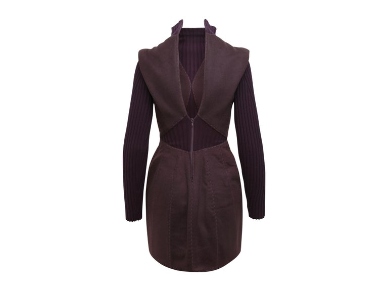 Black Alexander McQueen Purple Fall 2007 Ribbed Knit Dress For Sale