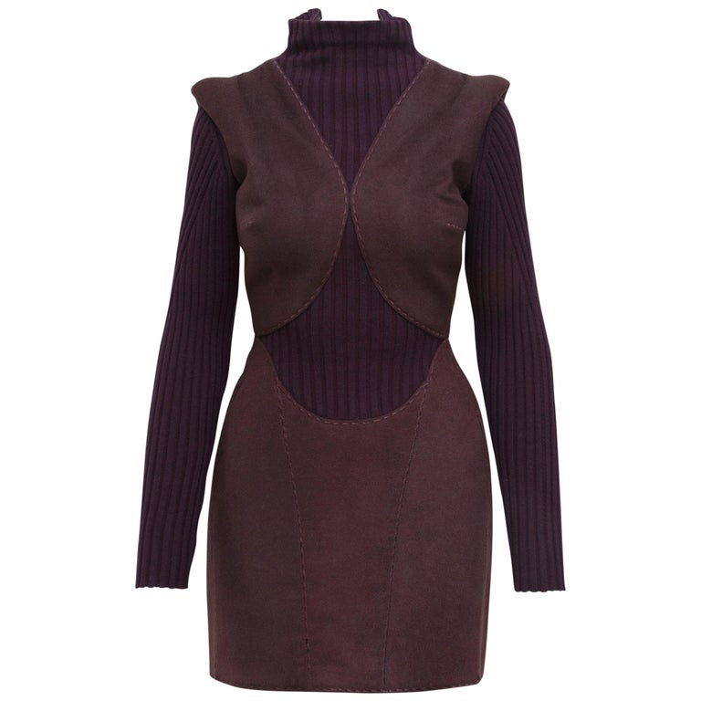 Alexander McQueen Purple Fall 2007 Ribbed Knit Dress For Sale