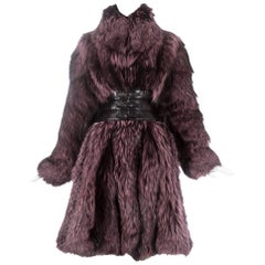 Alexander McQueen purple fox fur coat with black leather corset, fw 2009