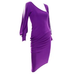 Alexander McQueen Purple Stretch Dress W Asymmetrical Neckline & Split Sleeves